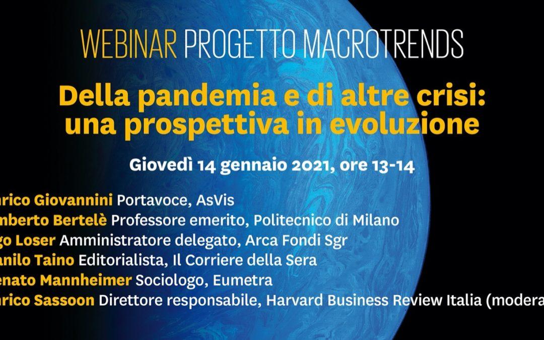 Della pandemia e di altre crisi: Mannheimer e Giovannini al nuovo webinar del progetto Macrotrends